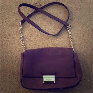 Purple suede over the shoulder Kate Spade bag
